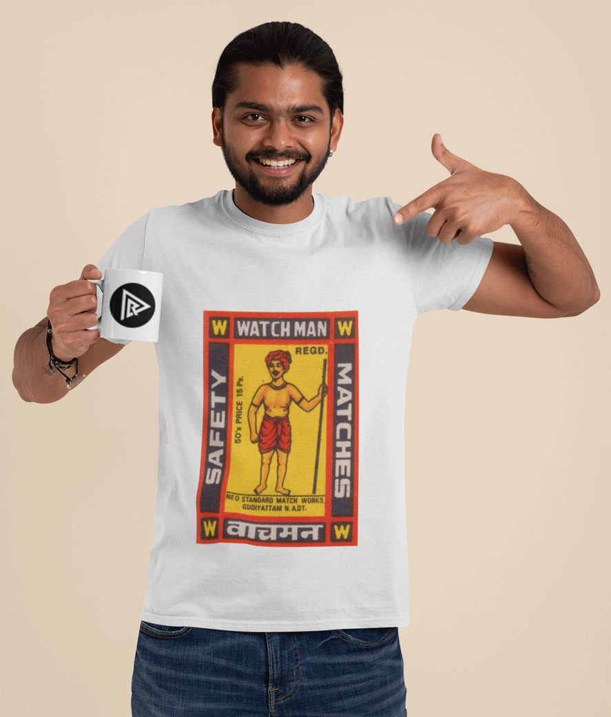 T shirt mockup of a happy man pointing at an 11 oz coffee mug 29117