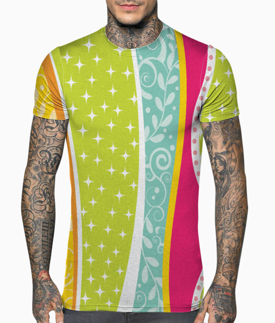 Abstract lines pattern 2 t shirt front