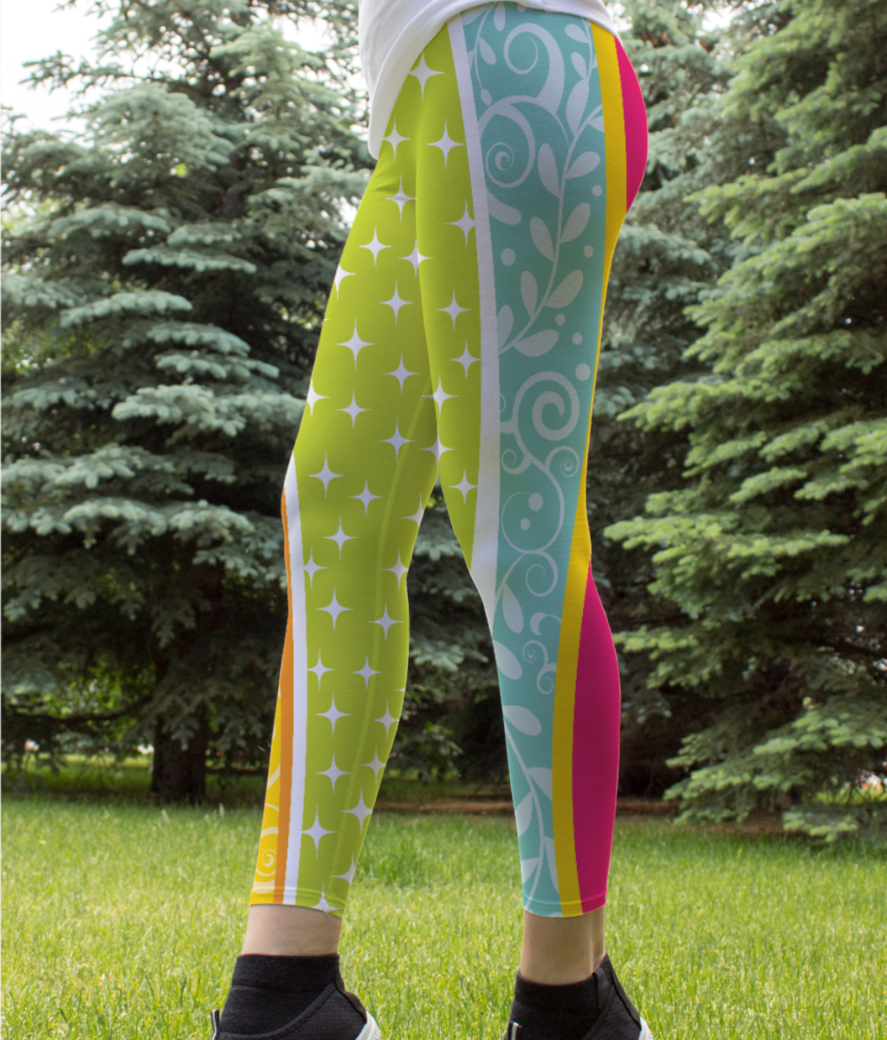 Abstract lines pattern 2 leggings front