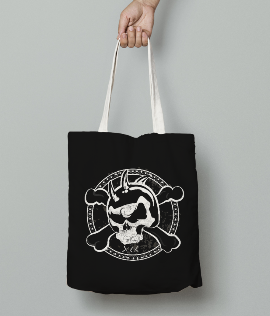Cross skull tote bag front