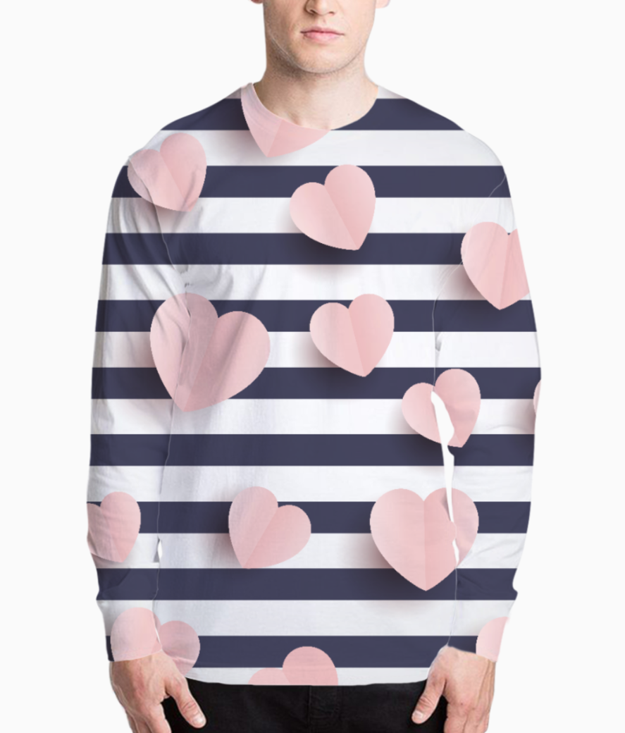 Hearts pattern henley front