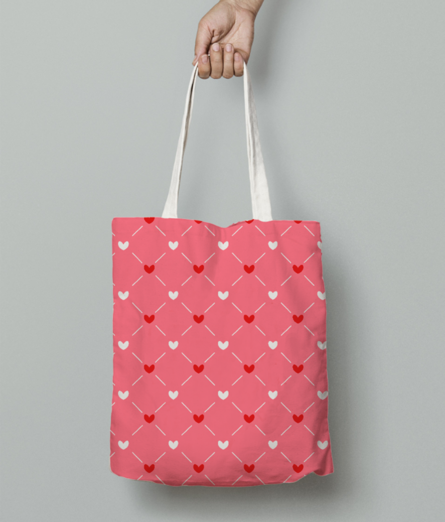Red white hearts tote bag front
