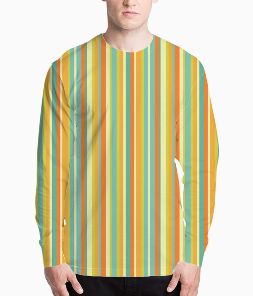 Colourful stripes yellow henley front