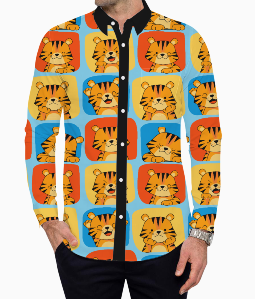 Cute tiger pattern 2 basic shirt front
