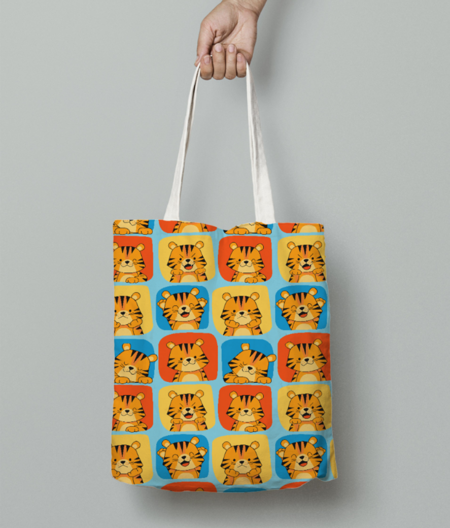 Cute tiger pattern 2 tote bag front