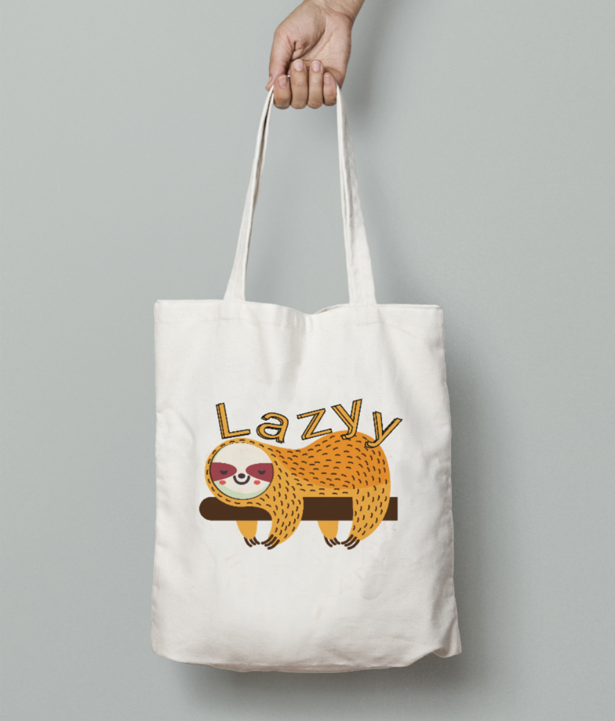 Lazyy tote bag front