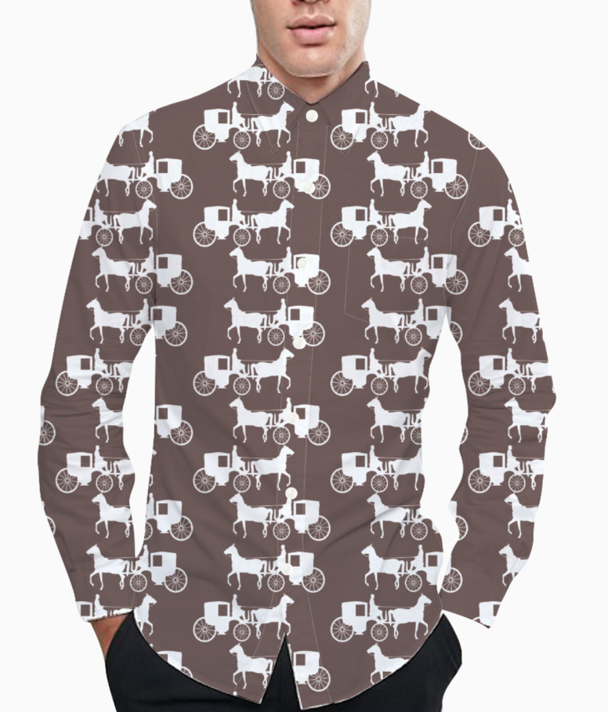 Seamless horse print basic shirt front