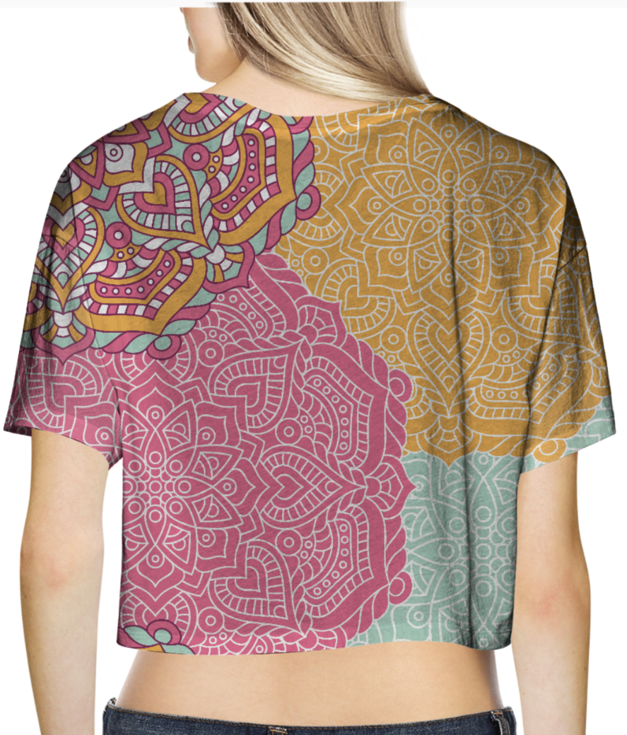 Ethnic pattern 5 crop top back