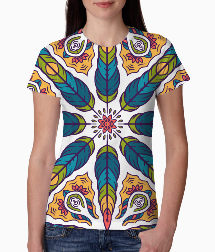 Feather pattern 1 tee front