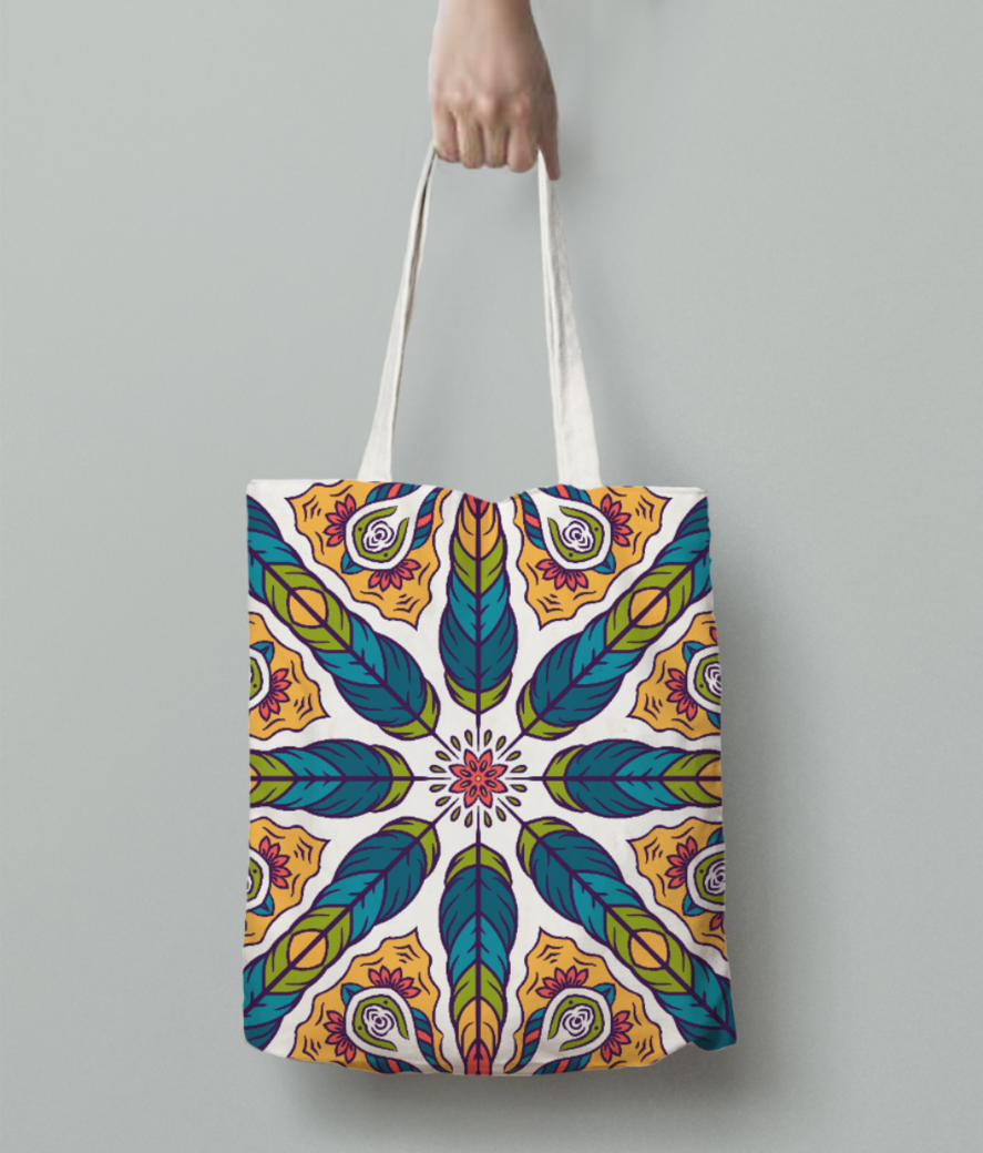 Feather pattern 1 tote bag back