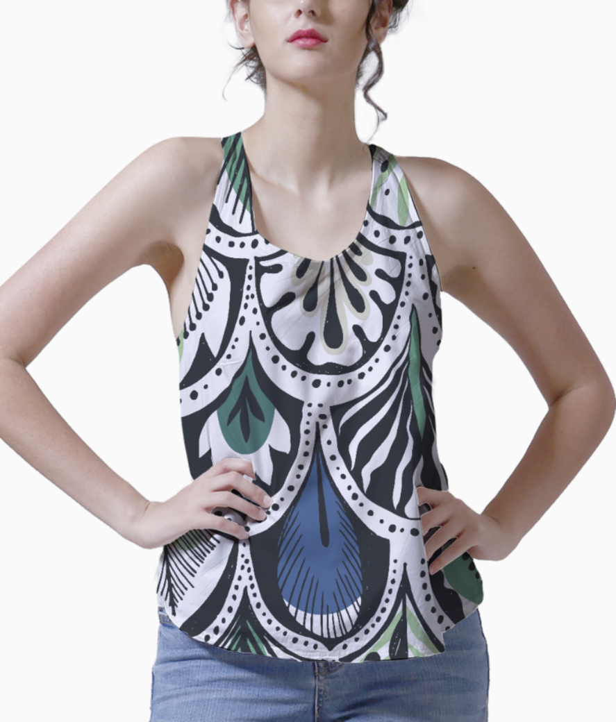 Feather pattern tank front