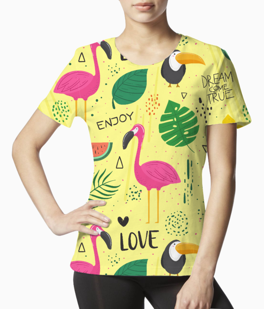Flamingo pattern tee front