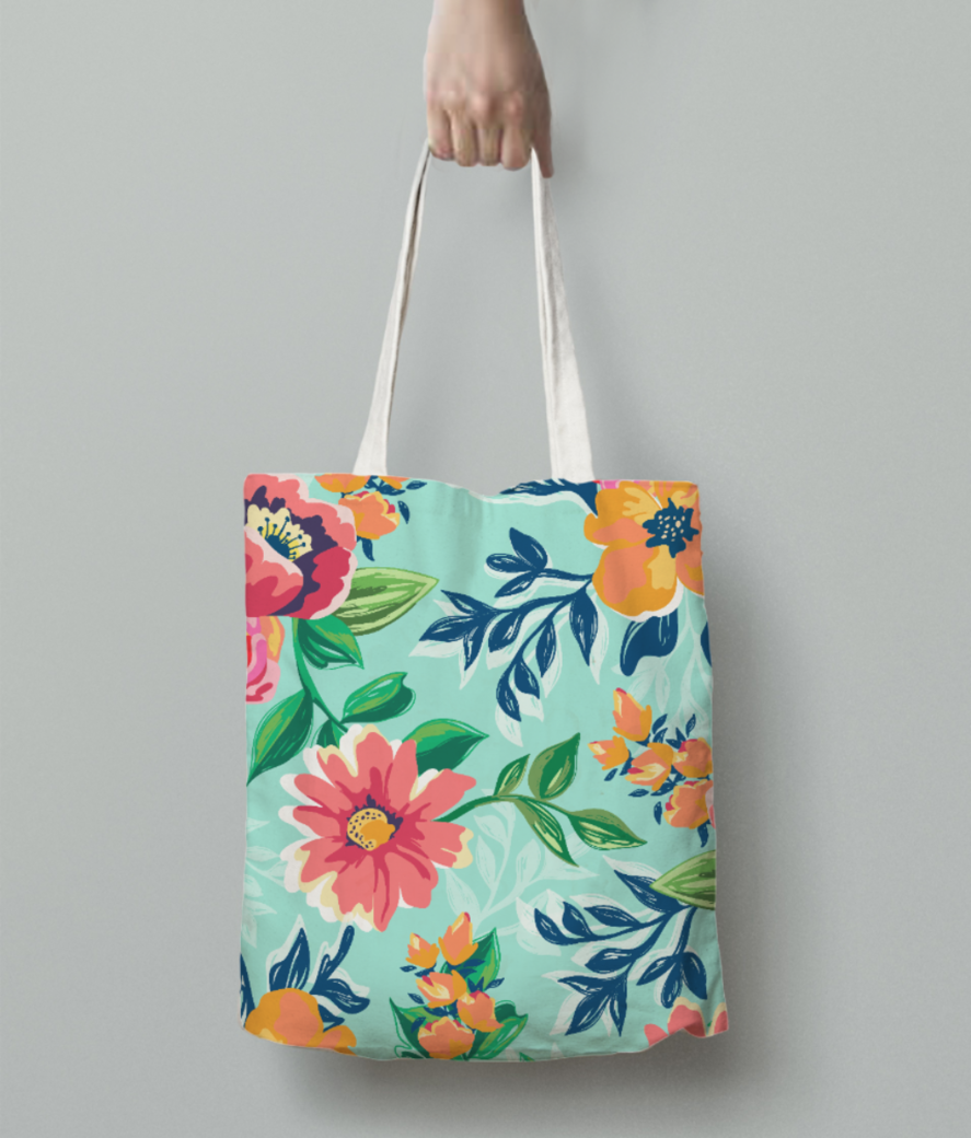 Floaral print tote bag back