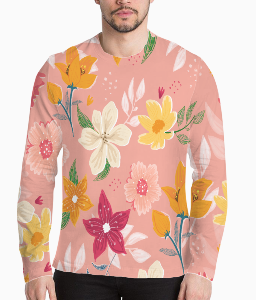 Floral pattern 7 henley front