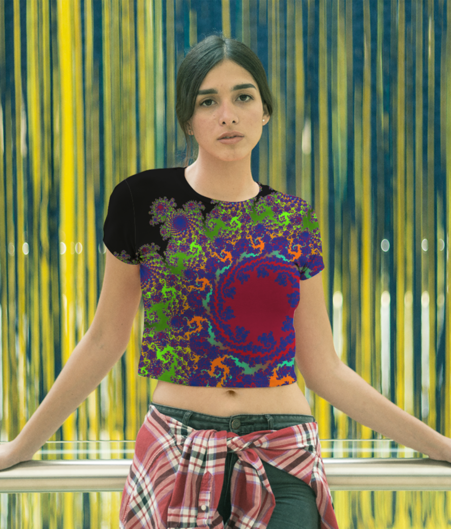 Disco vibe fractal crop top front