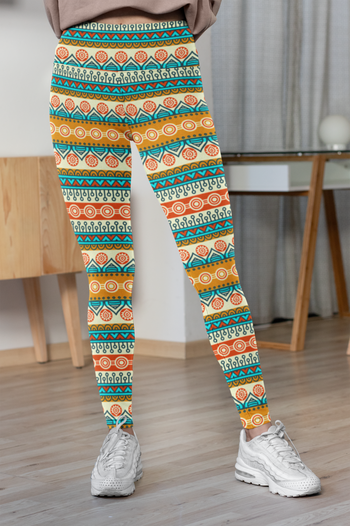 High waisted leggings mockup featuring a woman in her room 31519