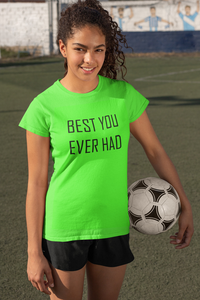 T shirt mockup featuring a female soccer player holding a ball 33577