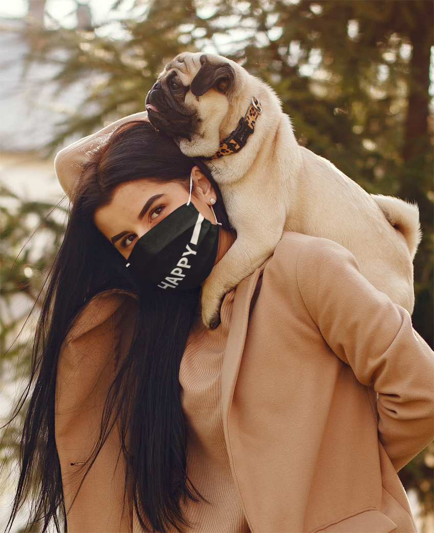 Face mask mockup of a woman carrying her dog 39907 r el2