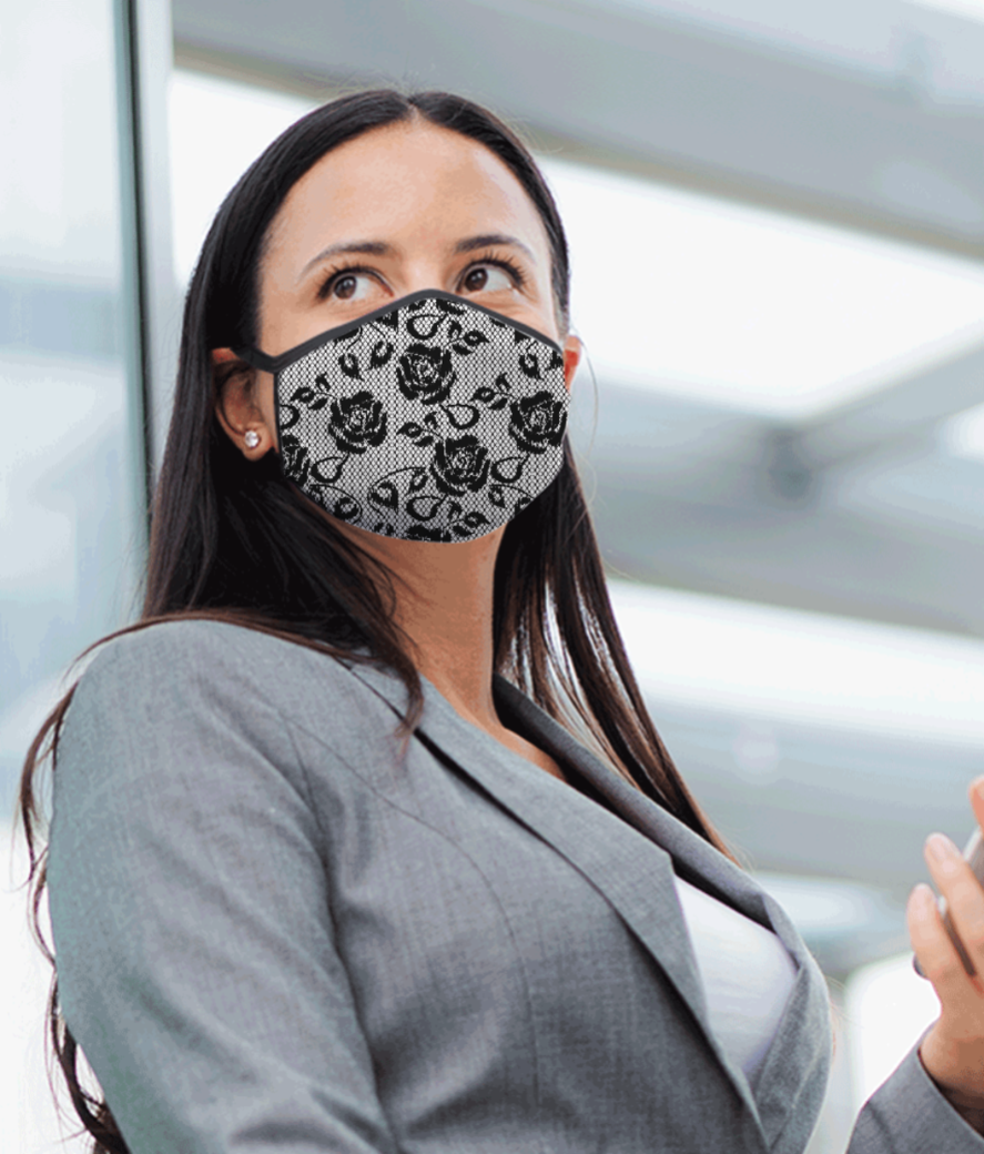 Black netted pattern mask front
