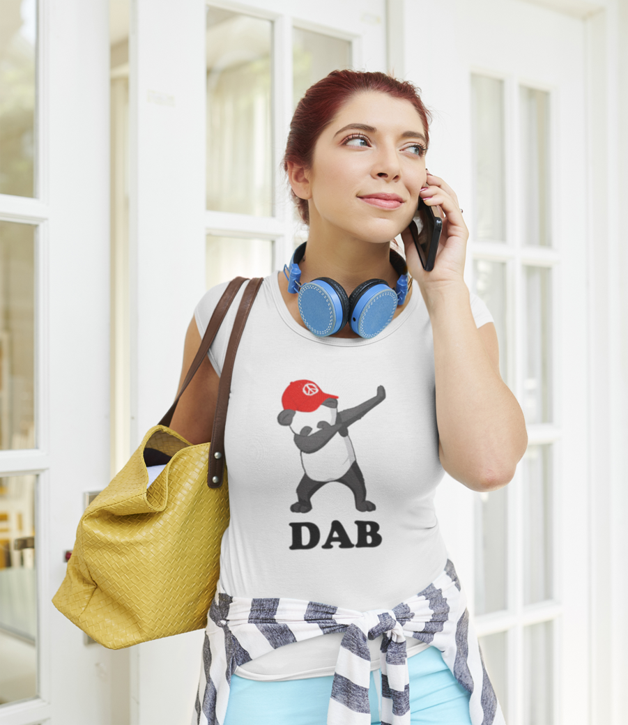 T shirt mockup of a woman getting out of her home while talking on the phone 42305 r el2