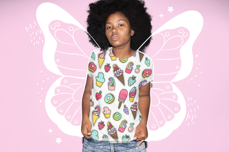 Sublimated tee mockup featuring a serious looking woman with natural hair 31141