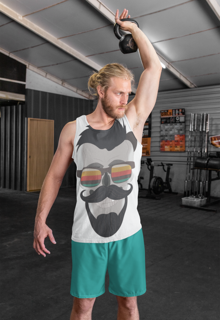 Tank top and shorts mockup of a man training with a kettlebell 33049