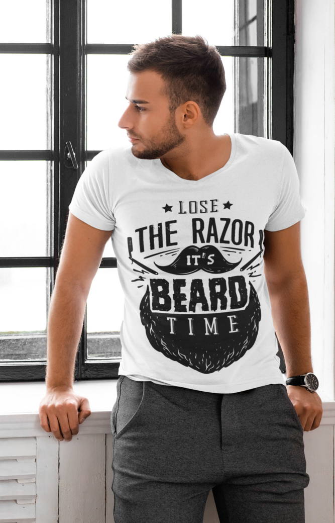 V neck t shirt mockup of a man leaning on a window at home 45499 r el2
