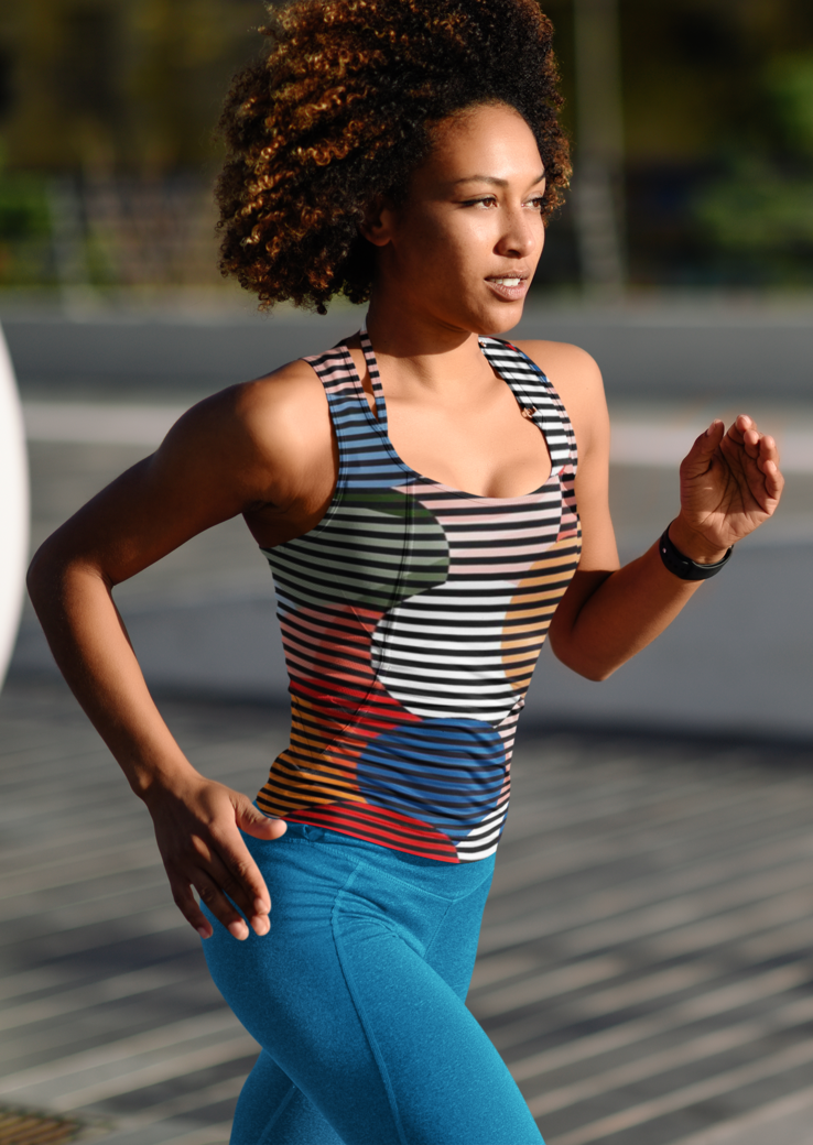 Sublimated tank top mockup of a woman running 38192 r el2