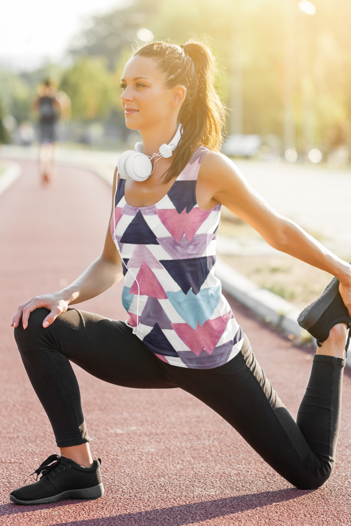 Sublimated tank top mockup of a female runner stretching m1821 r el2