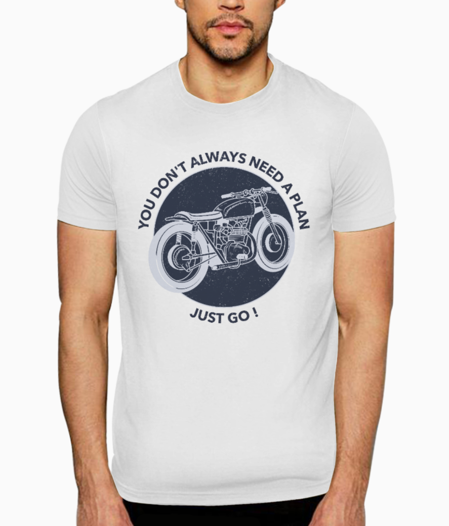 Motorcycle just go t shirt front